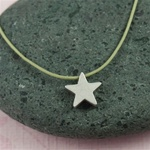 Gray Silk Cord Silver Star Necklace