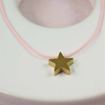 Pink Silk Cord Gold Star Necklace
