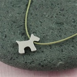 Gray Silk Cord Silver Puppy Necklace