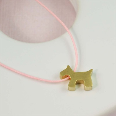 Pink Silk Cord Gold Pupply Necklace