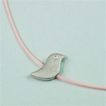 Pink Silk Cord Silver Bird Necklace