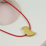 Red Silk Cord Gold Bird Necklace
