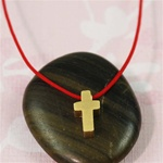Red Silk Cord Gold Cross Necklace