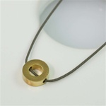 Gray Silk Cord Gold Ring Necklace