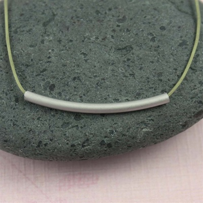 Gray Silk Cord Silver Tube Necklace