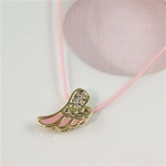Pink Silk Cord Gold Angel Wing Necklace