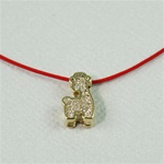 Red Silk Cord Gold Giraffe Necklace