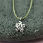 Gray Silk Cord Silver CZ Star Necklace