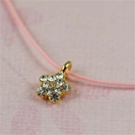 Pink Silk Cord Gold CZ Star Necklace