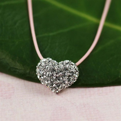 Pink Silk Cord Silver CZ Heart Necklace