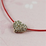 Red Silk Cord Gold CZ Heart Necklace