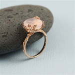 Handmade Pink Gold Oval Rose Quartz Ring