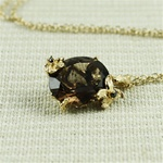 Handmade Gold Oval Smoky Quartz Necklace