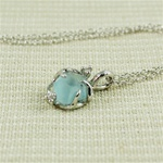 Handmade Silver Raw Blue Topaz Necklace