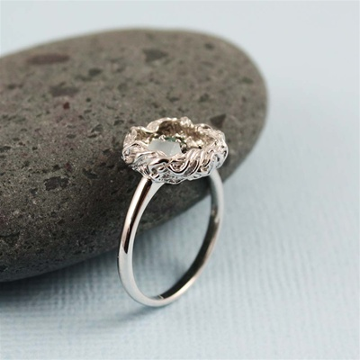 Handmade Sterling Silver Raw Gemstone Bird Nest Ring
