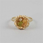 Handmade Gold Raw Gemstone Bird Nest Ring