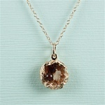 Handmade Pink Gold Raw Gemstone Bird Nest Necklace