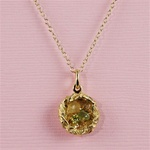 Handmade Gold Raw Gemstone Bird Nest Necklace