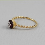 Handmade Gold Flower Garnet Cupcake Ring