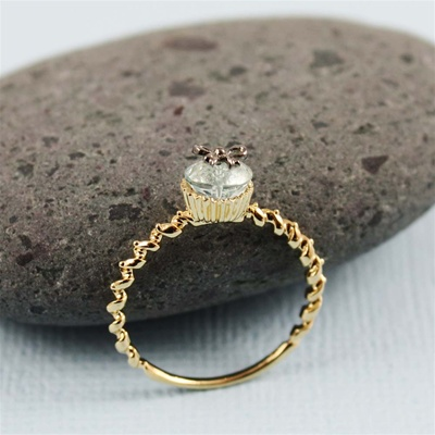 Handmade Gold Bow Blue Topaz Cupcake Ring