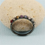 Handmade Black Raw Gemstone Band Ring