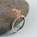 Handmade Gold Cherry Quartz Angel Ring