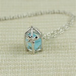 Handmade Silver Rough Aquamarine Birdcage Necklace