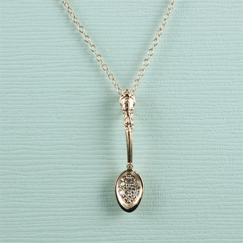 73b97f9a9a0e3 Handmade Pink Gold Spoon Necklace