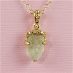 Handmade Gold Raw Green Amethyst Pine Cone Necklace