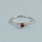 Handmade Silver Raw Garnet January Birthstone Ring