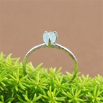 Handmade Silver Raw Aquamarine March Birthstone Ring