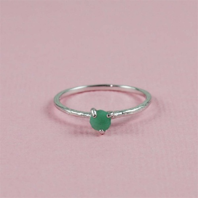 Handmade Silver Raw Emerald May Birthstone Ring