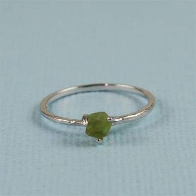 Handmade Silver Raw Peridot August Birthstone Ring