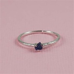Handmade Silver Raw Blue Sapphire September Birthstone Ring