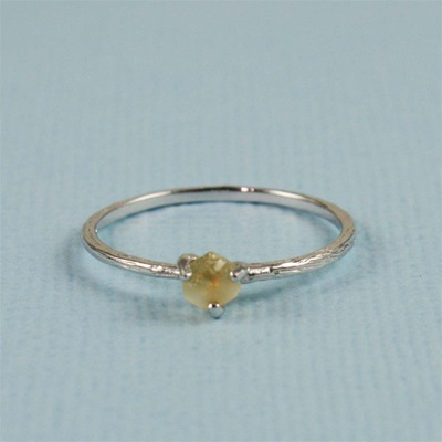 Handmade Silver Raw Citrine November Birthstone Ring