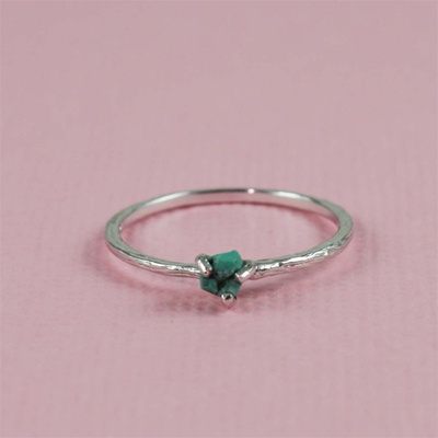 Handmade Silver Raw Turquoise December Birthstone Ring