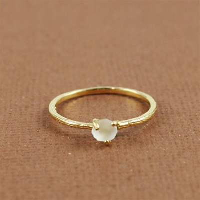 Handmade Gold Raw White Quartz April Birthstone Ring
