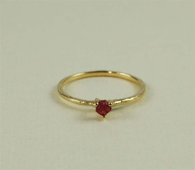 Handmade Gold Raw Ruby July Birthstone Ring