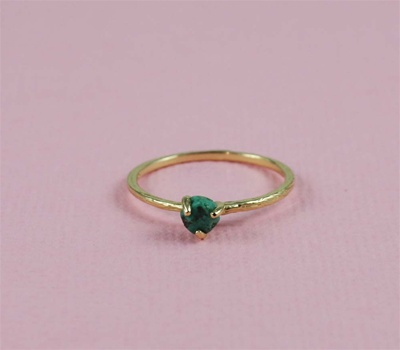 Handmade Gold Raw Turquoise December Birthstone Ring