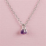 Handmade Silver Raw Amethyst February Birthstone Necklace