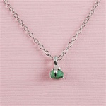 Handmade Silver Raw Emerald May Birthstone Necklace