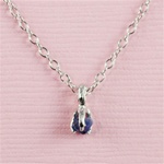 Handmade Silver Raw Blue Sapphire September Birthstone Necklace