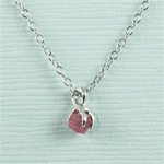 Handmade Silver Raw Pink Tourmaline October Birthstone Necklace