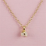 Handmade Gold Raw White Quartz April Birthstone Necklace