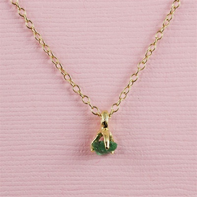 Handmade Gold Raw Emerald May Birthstone Necklace
