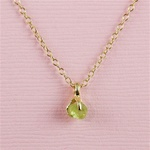 Handmade Gold Raw Peridot August Birthstone Necklace