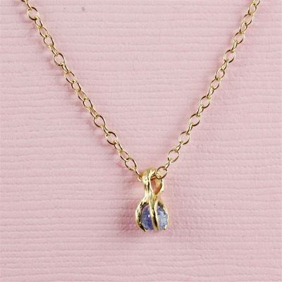 Handmade Gold Raw Blue Sapphire September Birthstone Necklace