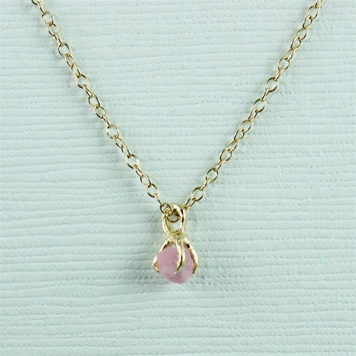 new images of speical offer hot sale Handmade Gold Raw Pink Tourmaline October Birthstone Necklace