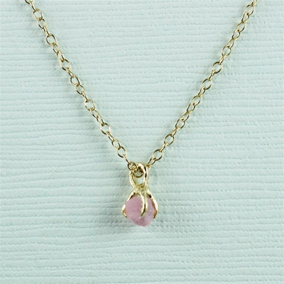 Handmade Gold Raw Pink Tourmaline October Birthstone Necklace