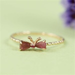 Handmade Rose Gold Pink Tourmaline & Ruby Bow Ring